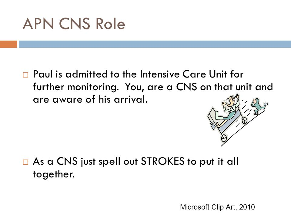 APN CNS Role Paul is admitted to the Intensive Care Unit for further monitoring. You, are a CNS on that unit and are aware of his arrival.