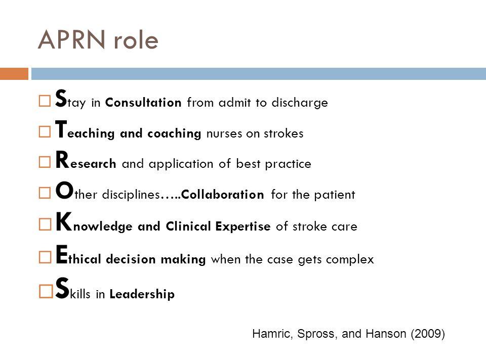 Skills in Leadership APRN role
