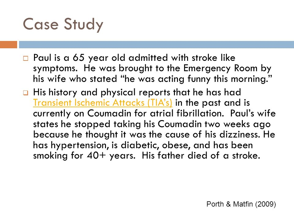 Case Study for Stroke Awareness Month