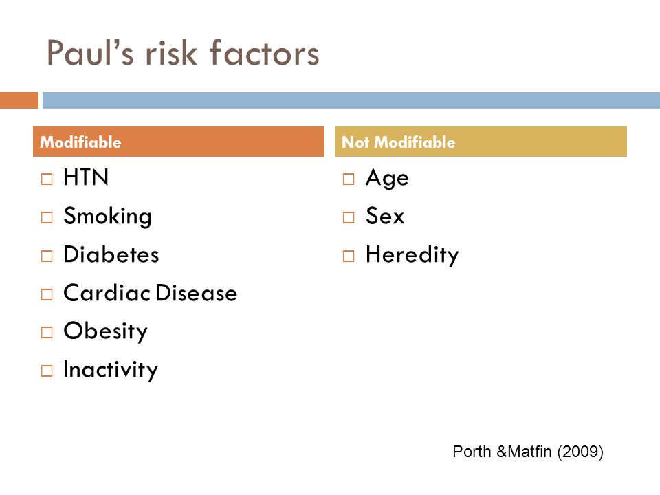 Paul's risk factors HTN Smoking Diabetes Cardiac Disease Obesity