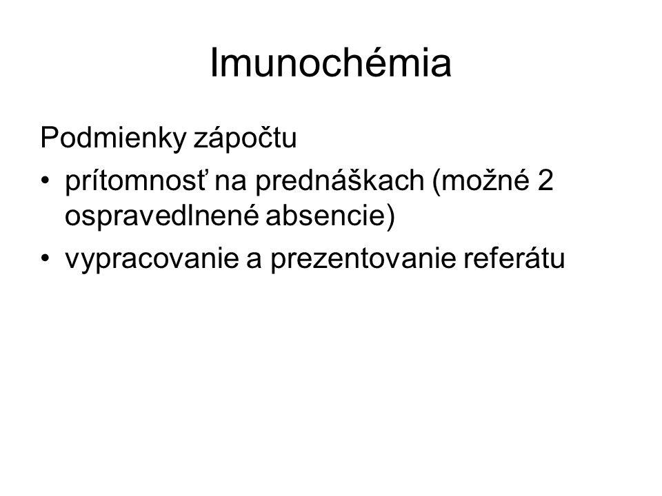 Imunochémia Podmienky zápočtu