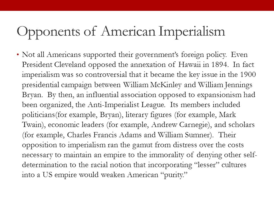 Opponents of American Imperialism