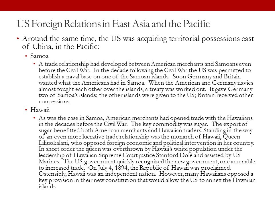 US Foreign Relations in East Asia and the Pacific