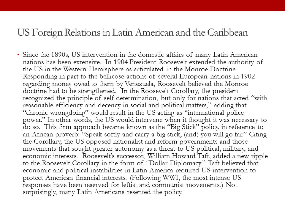 US Foreign Relations in Latin American and the Caribbean