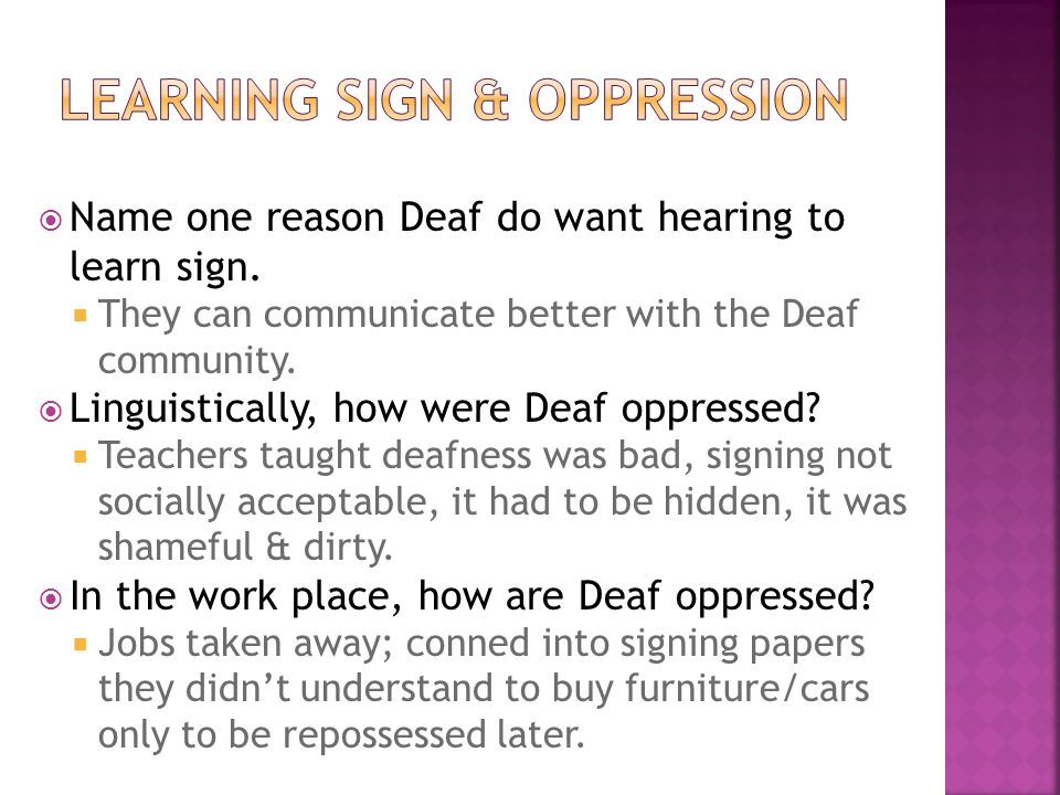Learning sign & oppression