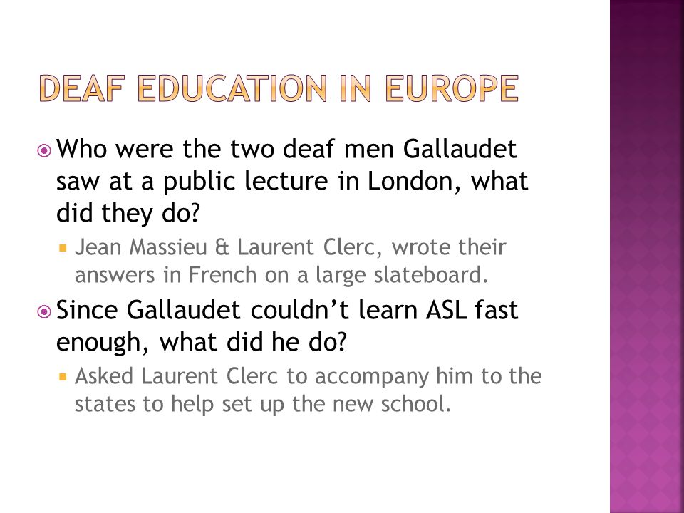 DEAF EDUCATION in EUROPE