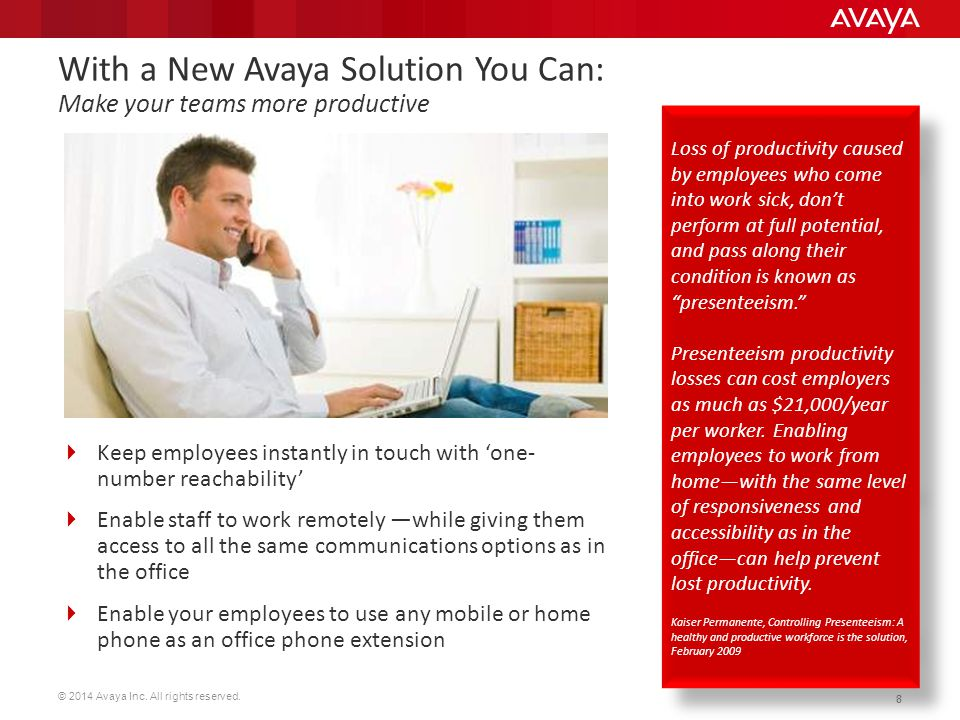 With a New Avaya Solution You Can: Make your teams more productive