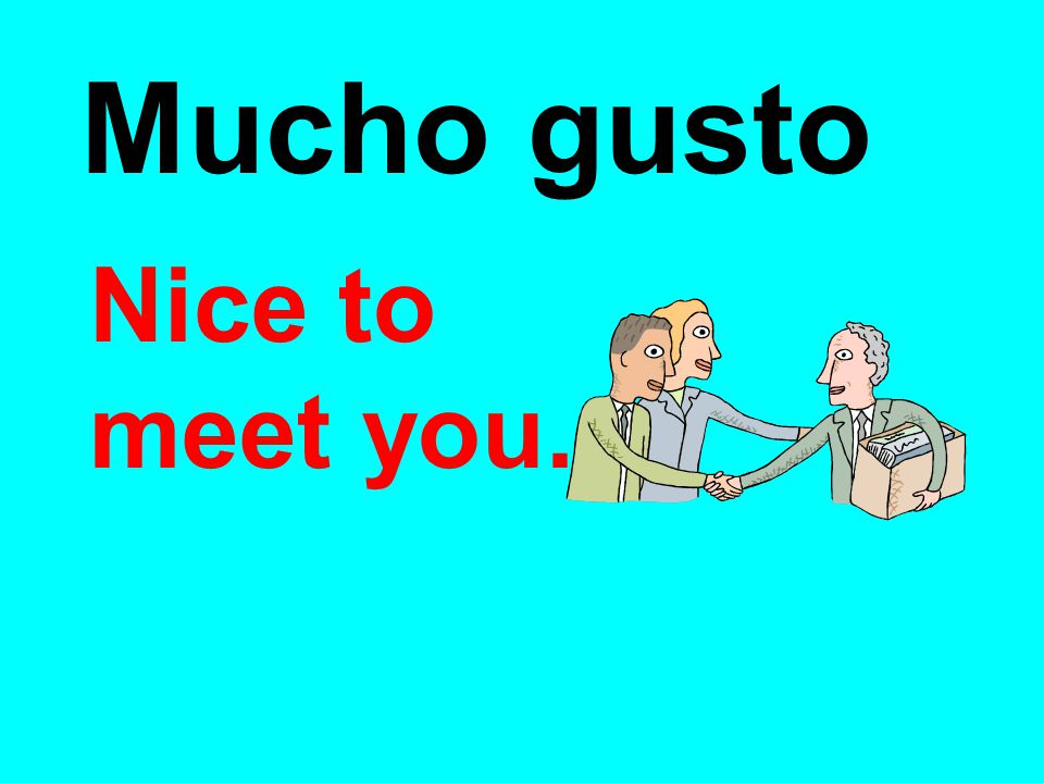 Mucho gusto Nice to meet you.