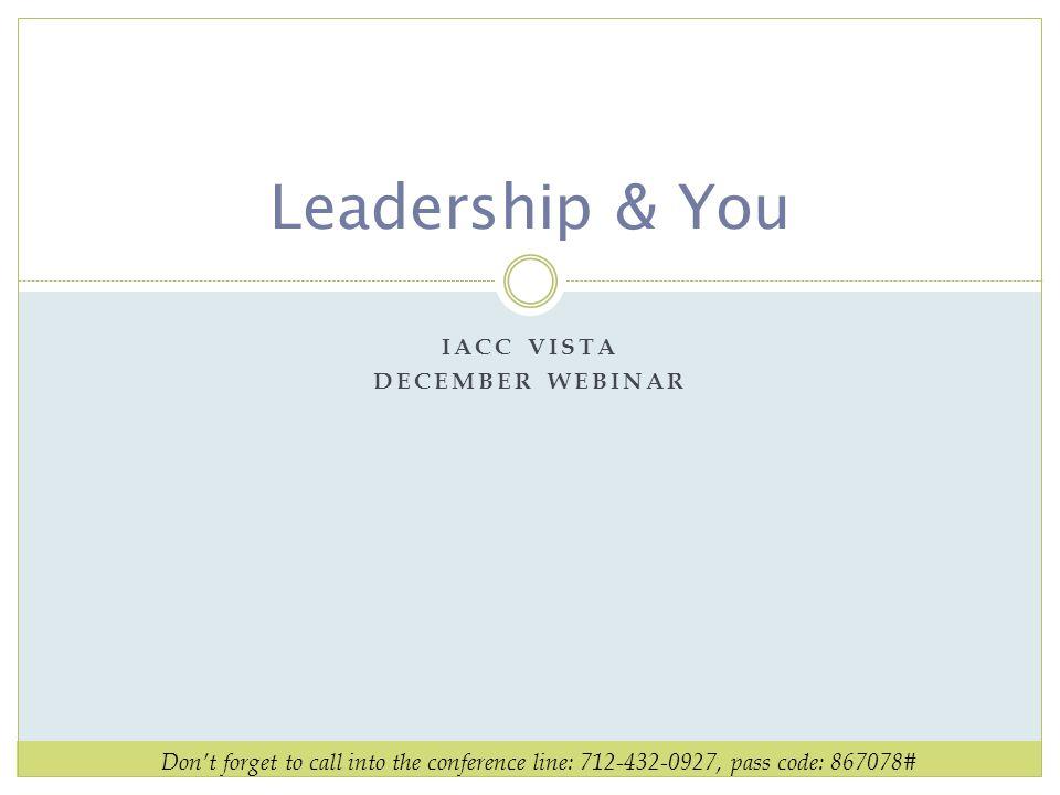 IACC VISTA December webinar