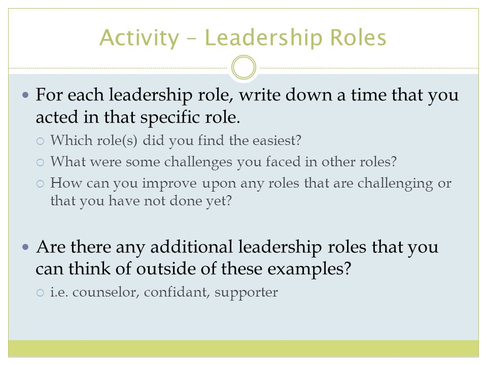 Activity – Leadership Roles