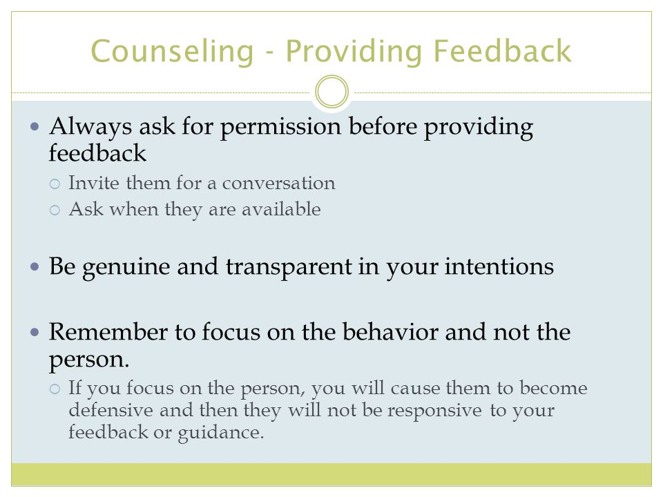 Counseling - Providing Feedback