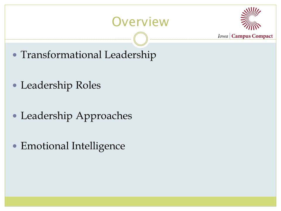 Overview Transformational Leadership Leadership Roles