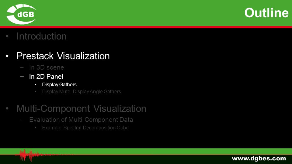 Outline Introduction Prestack Visualization