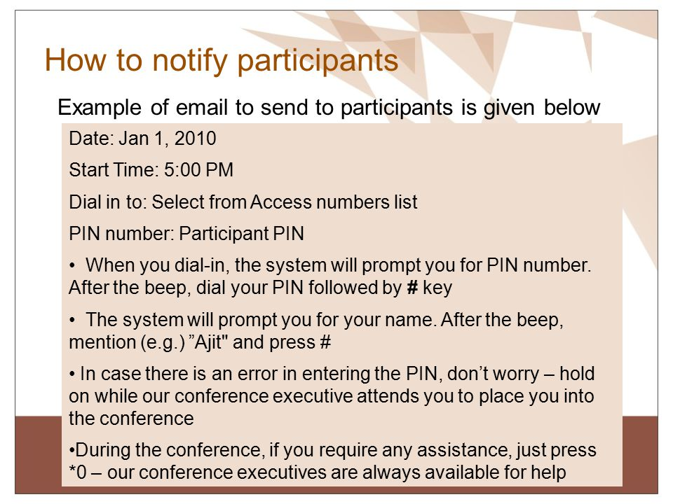 How to notify participants
