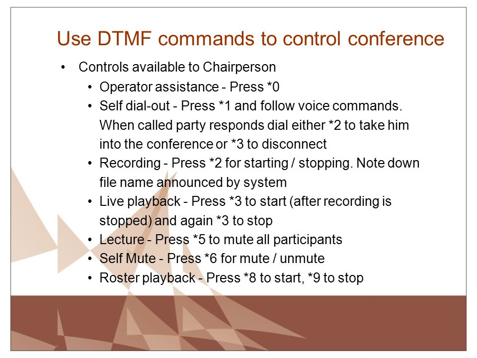 Use DTMF commands to control conference