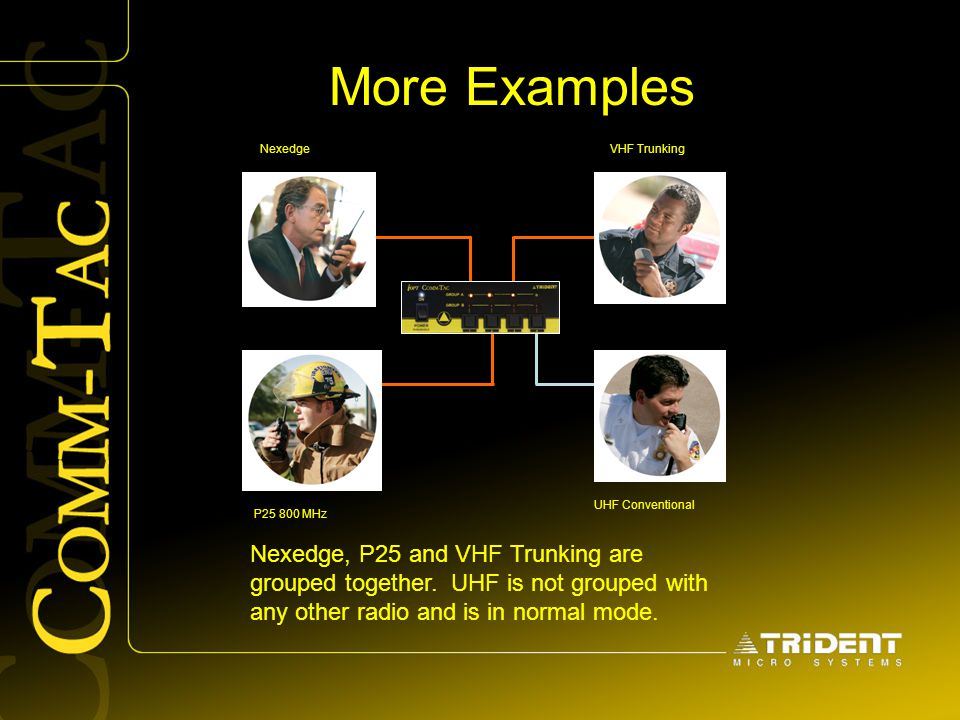 More Examples Nexedge. VHF Trunking. UHF Conventional. P25 800 MHz.