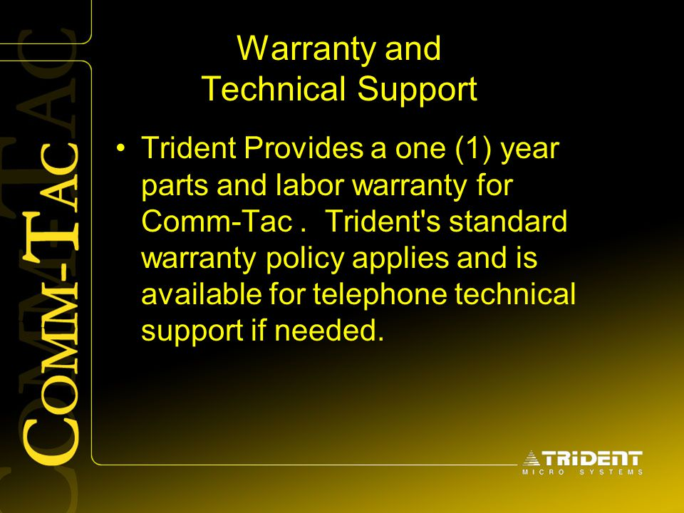 Warranty and Technical Support