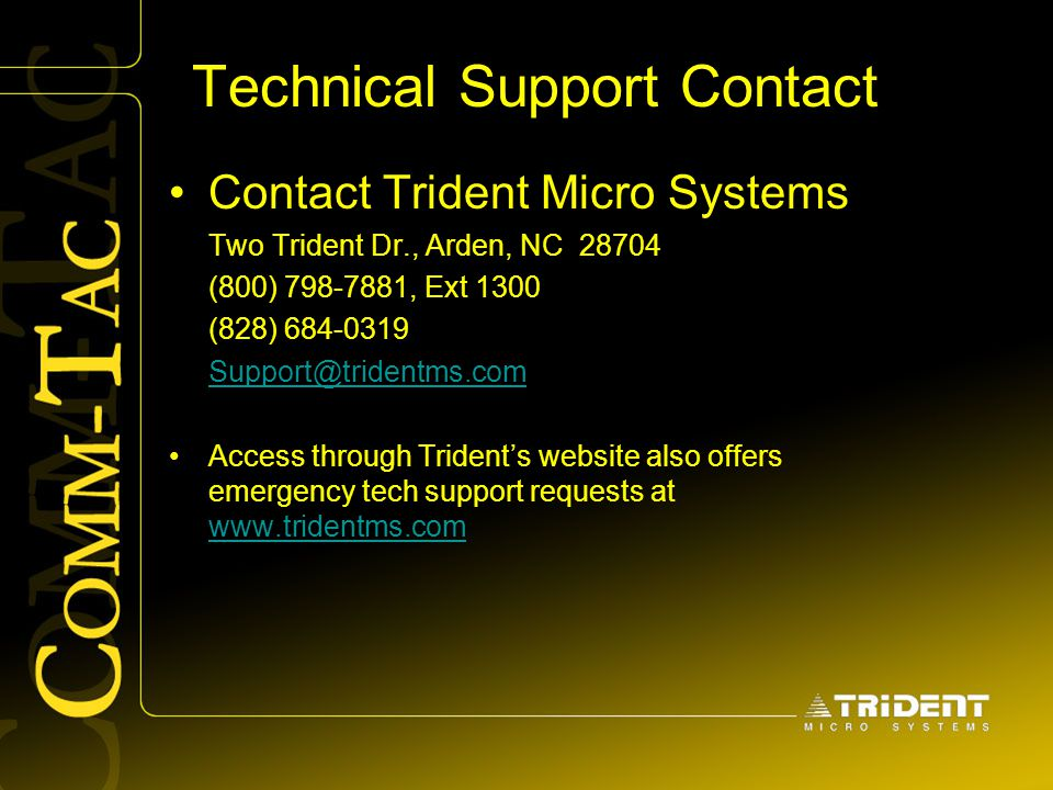 Technical Support Contact