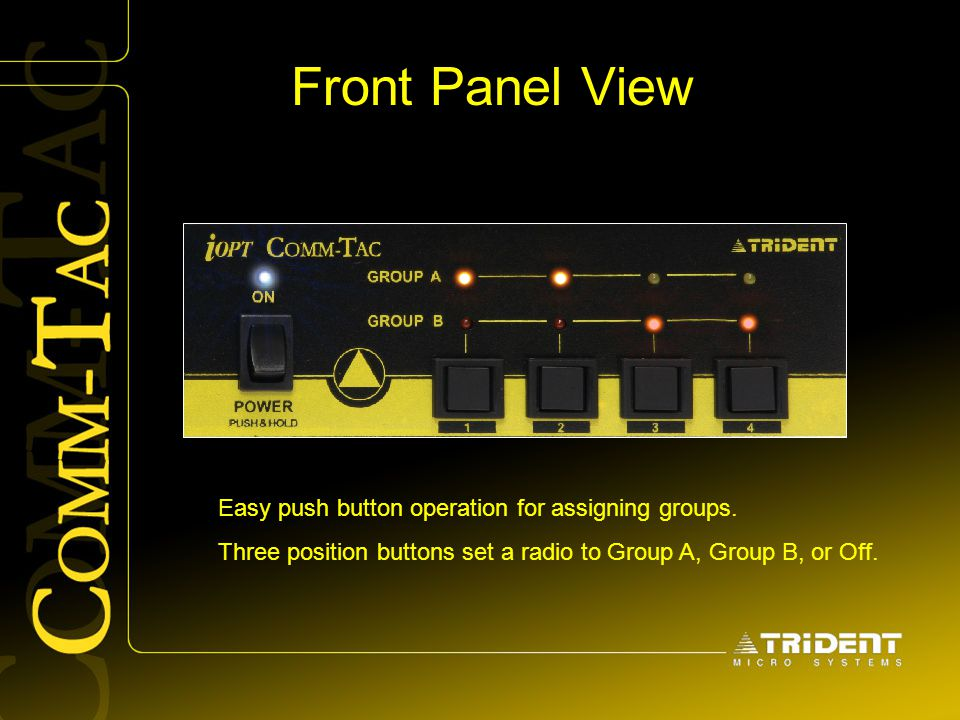Front Panel View Easy push button operation for assigning groups.