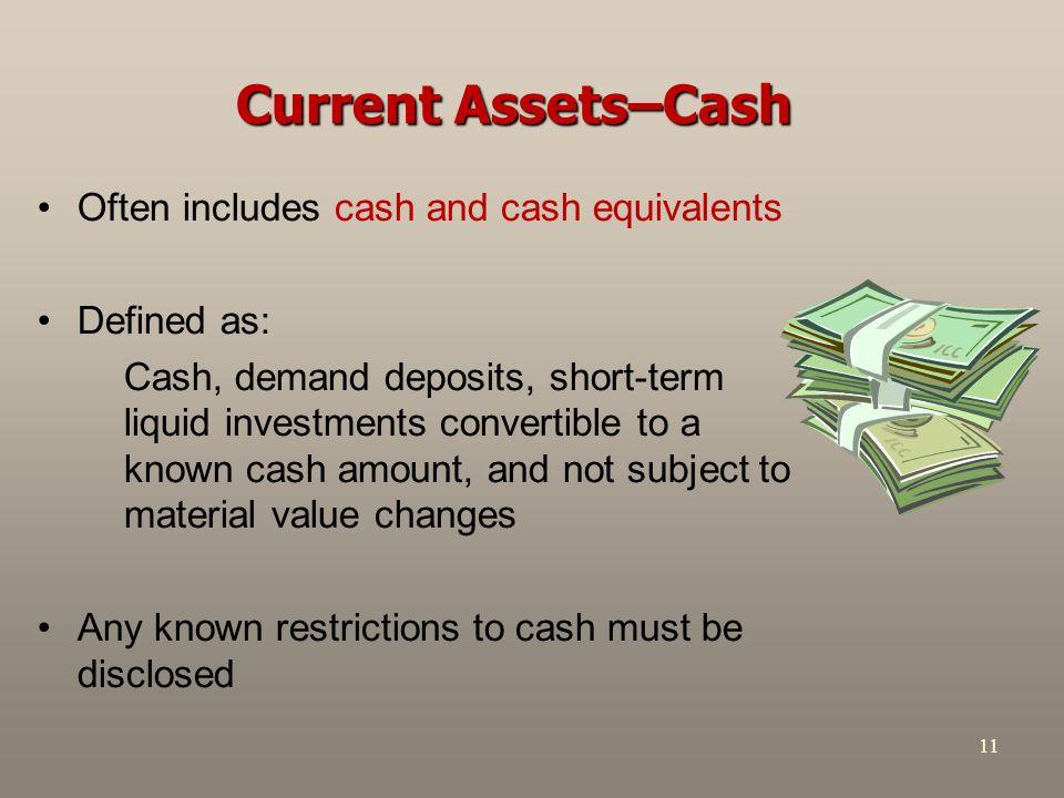Current Assets–Cash Often includes cash and cash equivalents