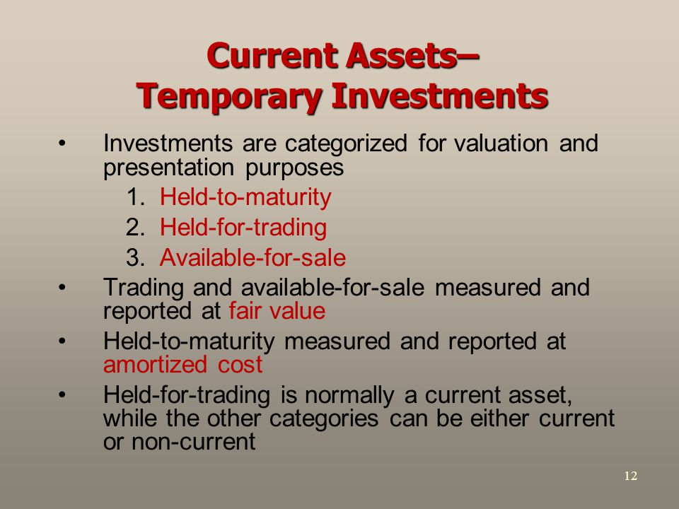 Current Assets– Temporary Investments