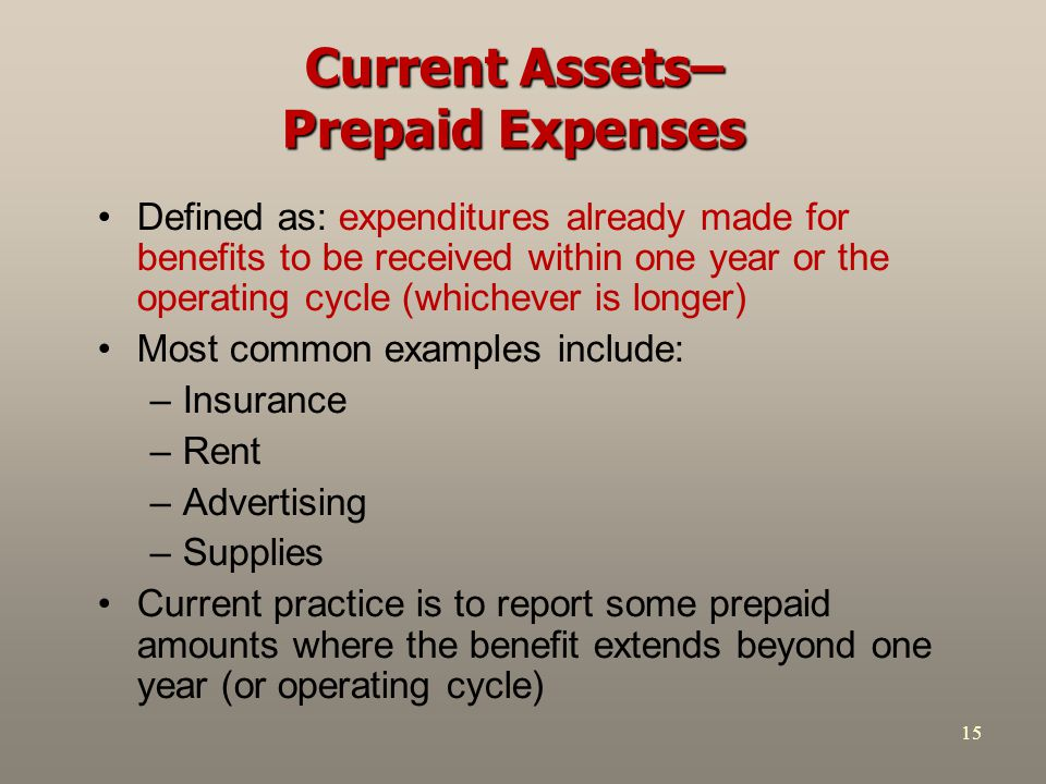 Current Assets– Prepaid Expenses