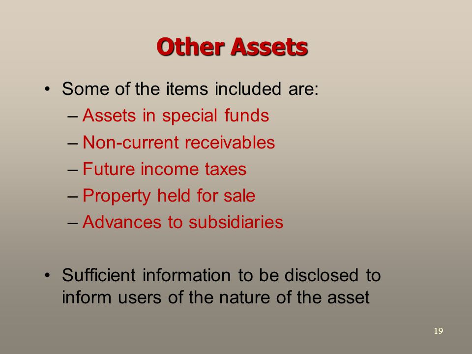 Other Assets Some of the items included are: Assets in special funds