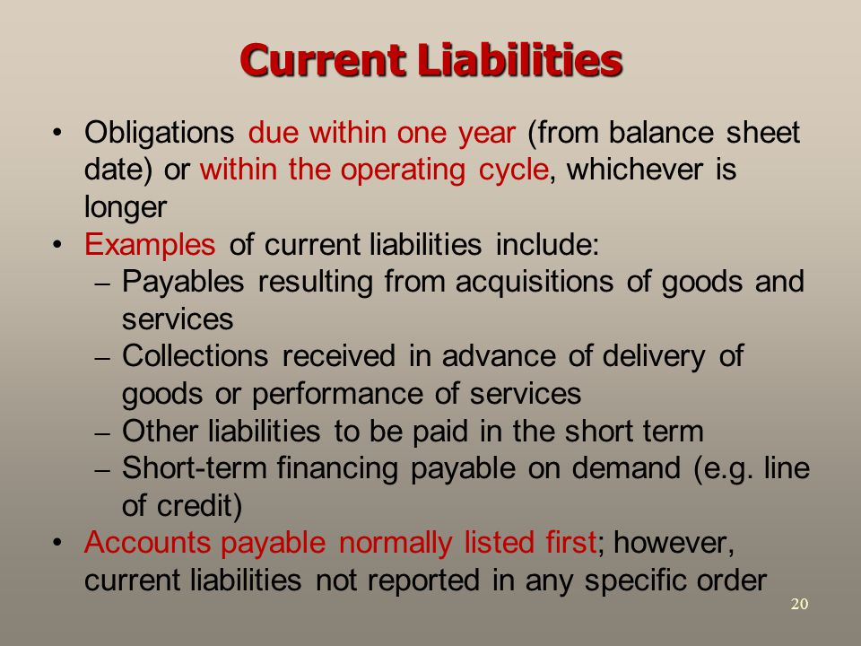 Current Liabilities Obligations due within one year (from balance sheet date) or within the operating cycle, whichever is longer.