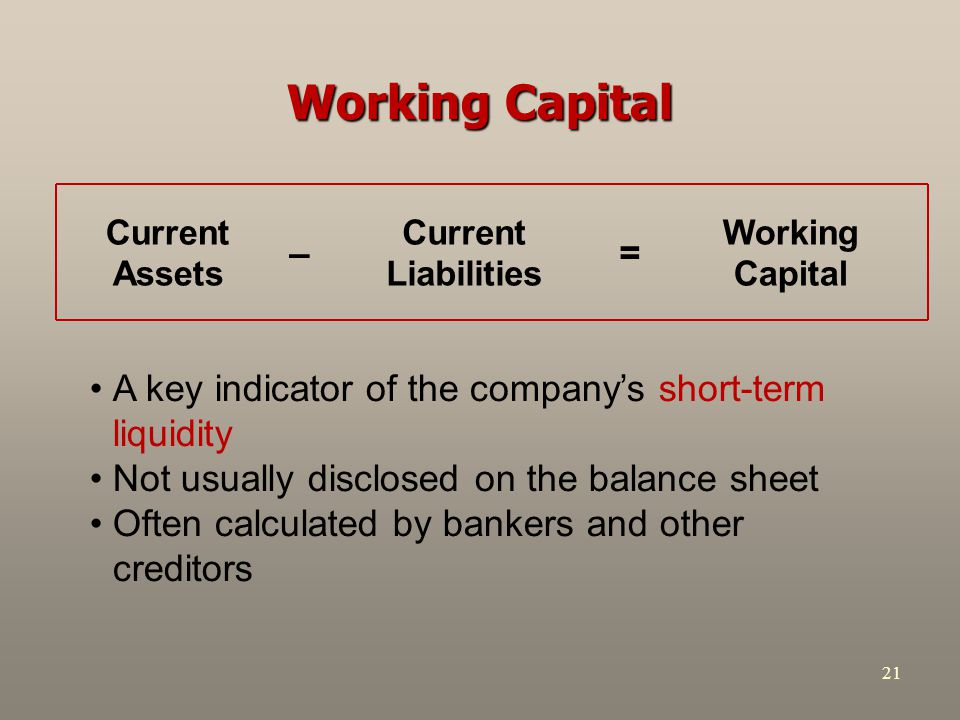 Working Capital = – Working Capital. Current Liabilities. Current Assets.
