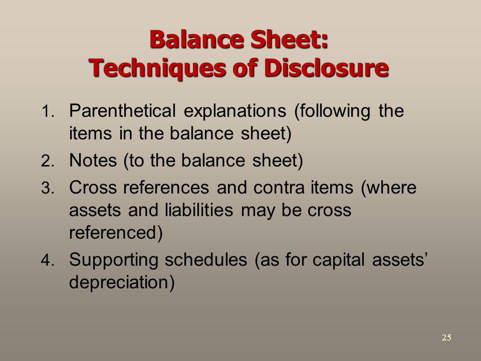 Balance Sheet: Techniques of Disclosure