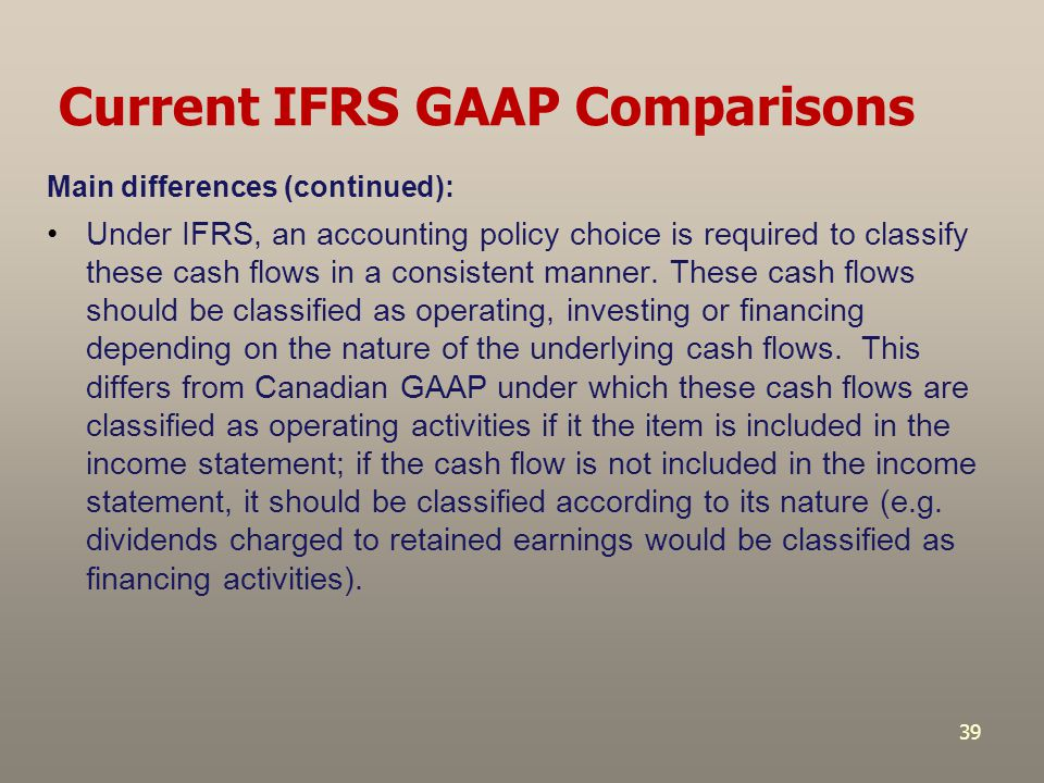 Current IFRS GAAP Comparisons