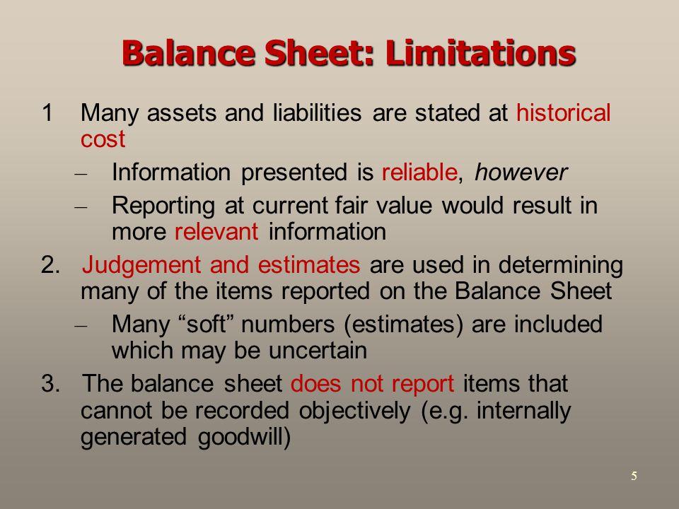 Balance Sheet: Limitations