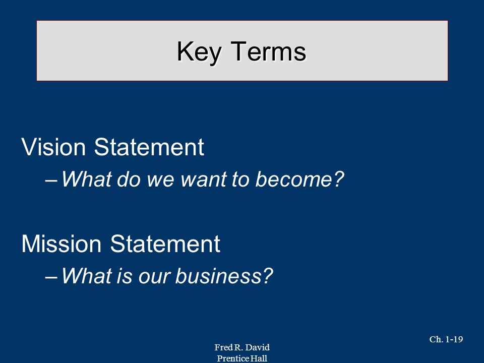 Key Terms Vision Statement Mission Statement