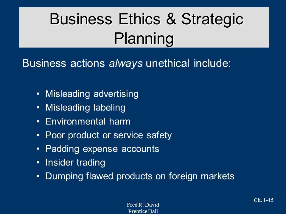 Business Ethics & Strategic Planning