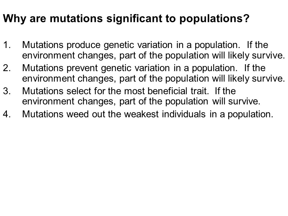 Why are mutations significant to populations