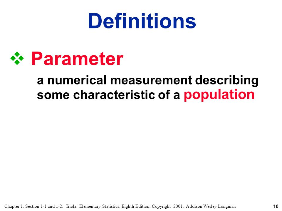 Definitions Parameter