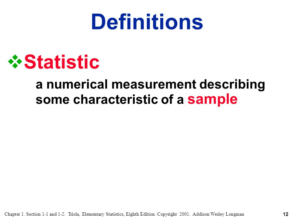 Definitions Statistic