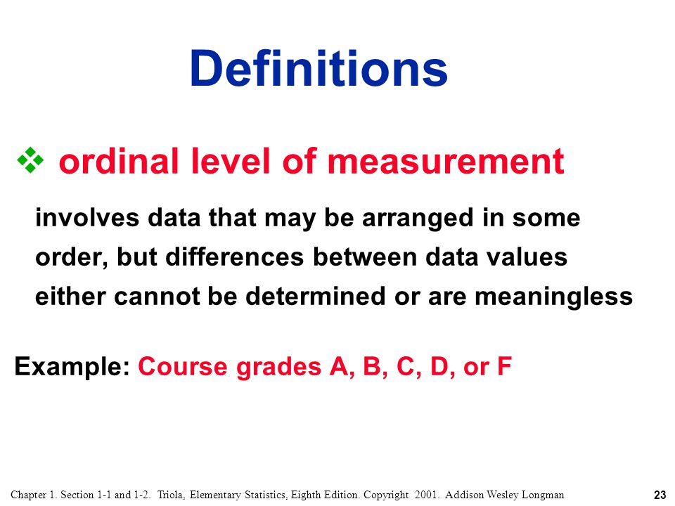 Definitions ordinal level of measurement