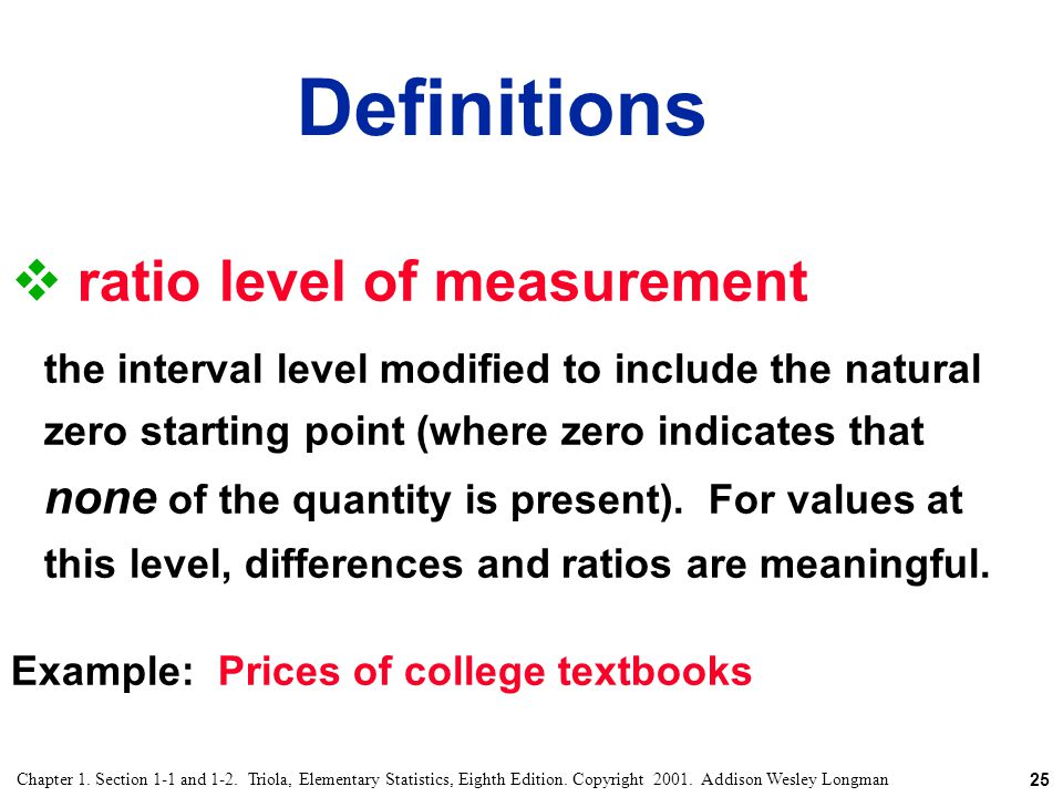 Definitions ratio level of measurement