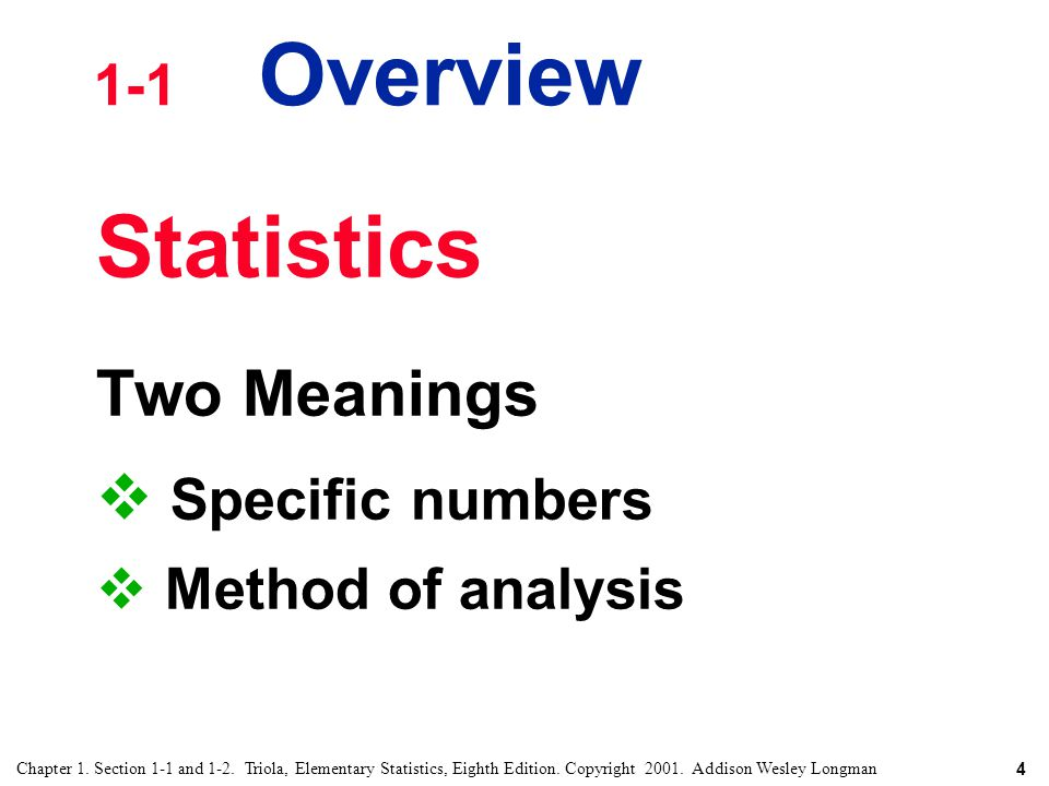 Statistics Two Meanings Specific numbers 1-1 Overview