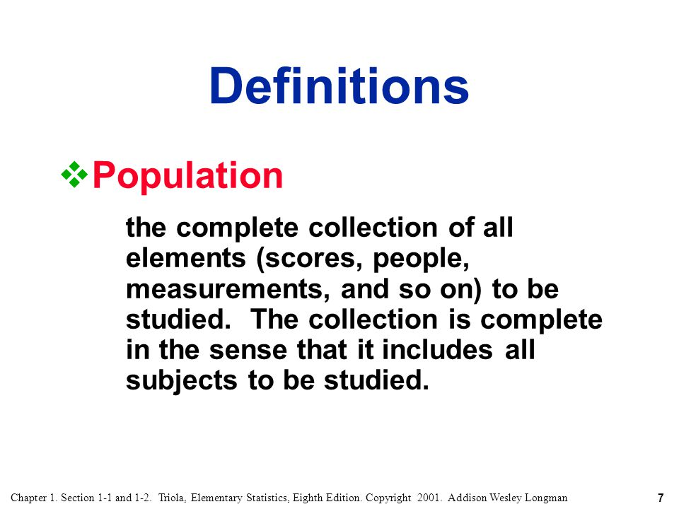 Definitions Population