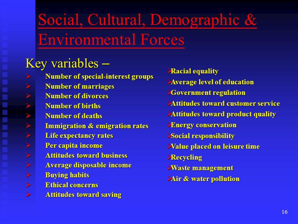 Social, Cultural, Demographic & Environmental Forces