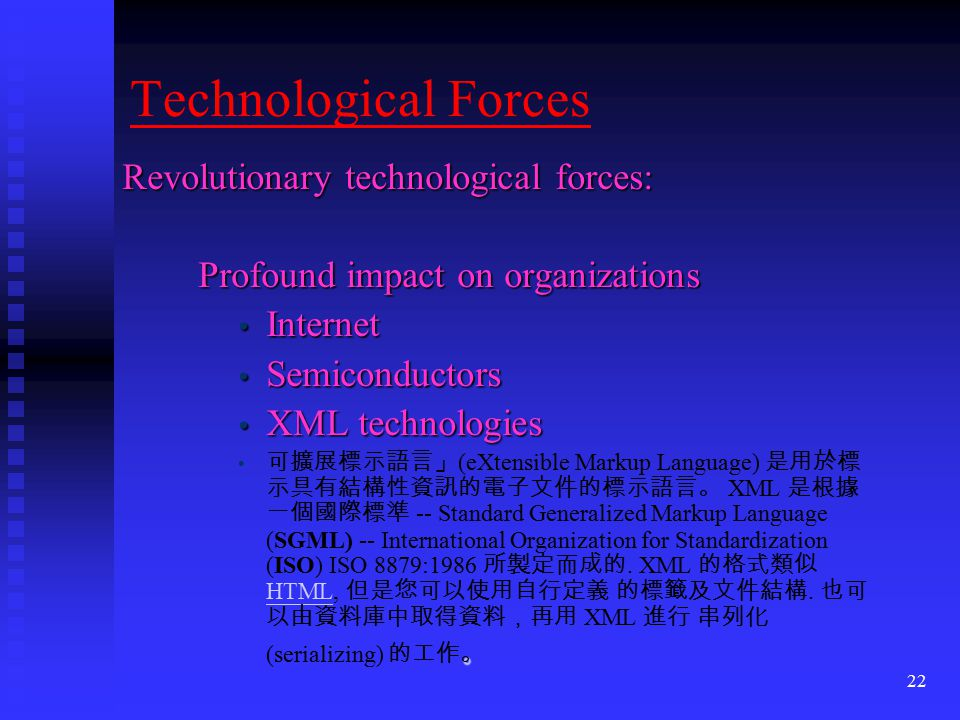 Technological Forces Revolutionary technological forces: