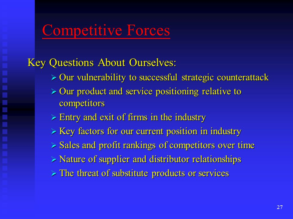 Competitive Forces Key Questions About Ourselves: