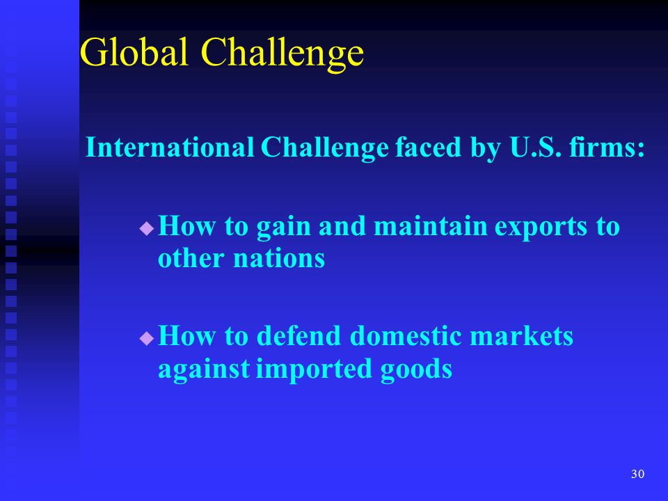 Global Challenge International Challenge faced by U.S. firms: