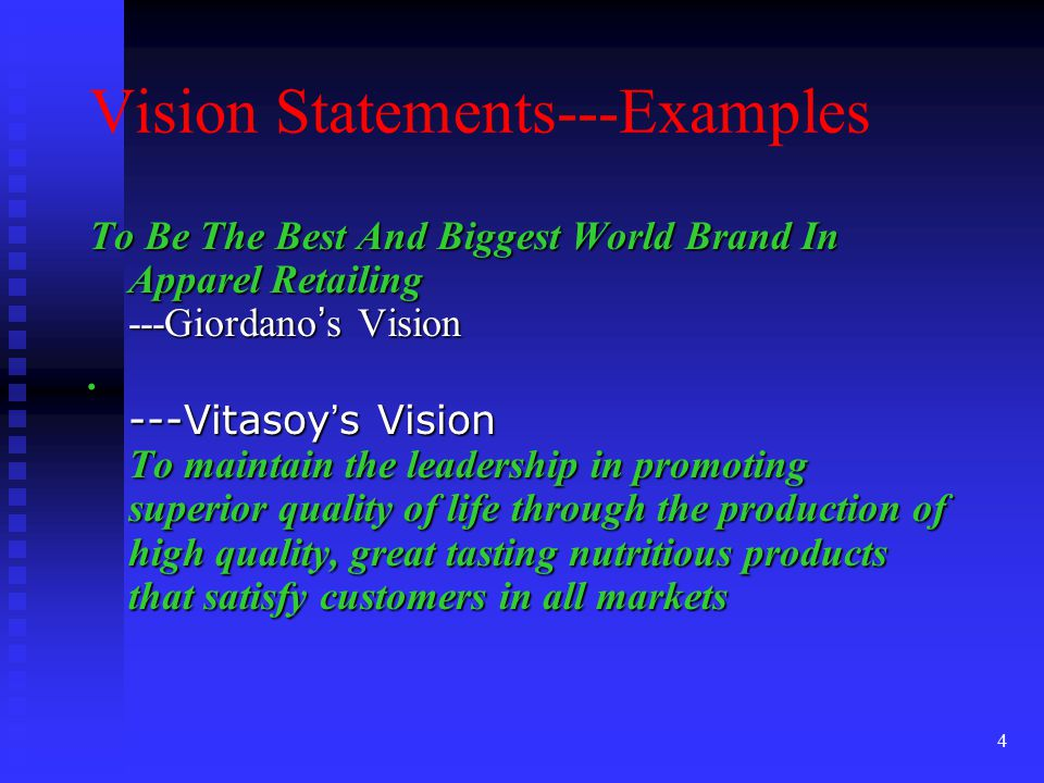 Vision Statements---Examples
