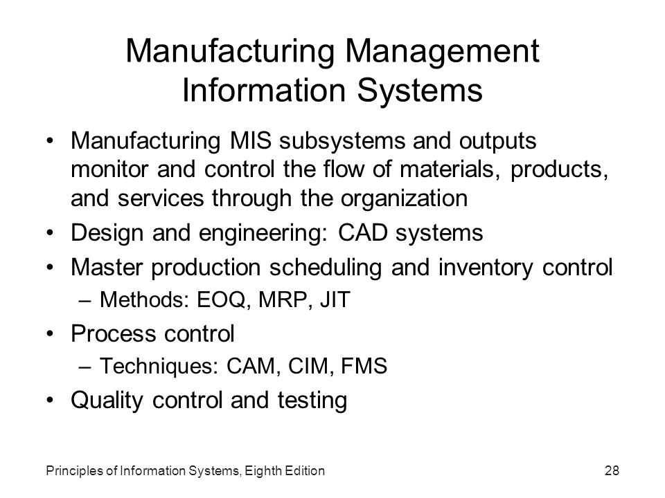 Manufacturing Management Information Systems