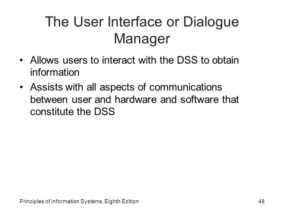 The User Interface or Dialogue Manager