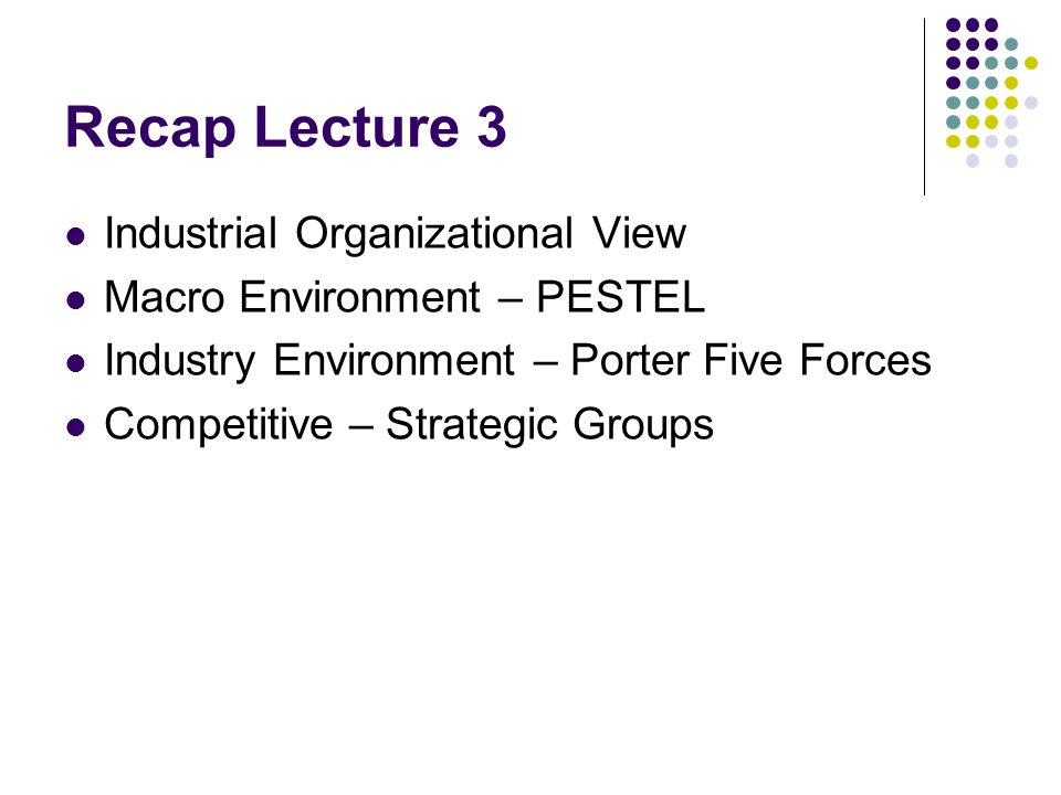 Recap Lecture 3 Industrial Organizational View
