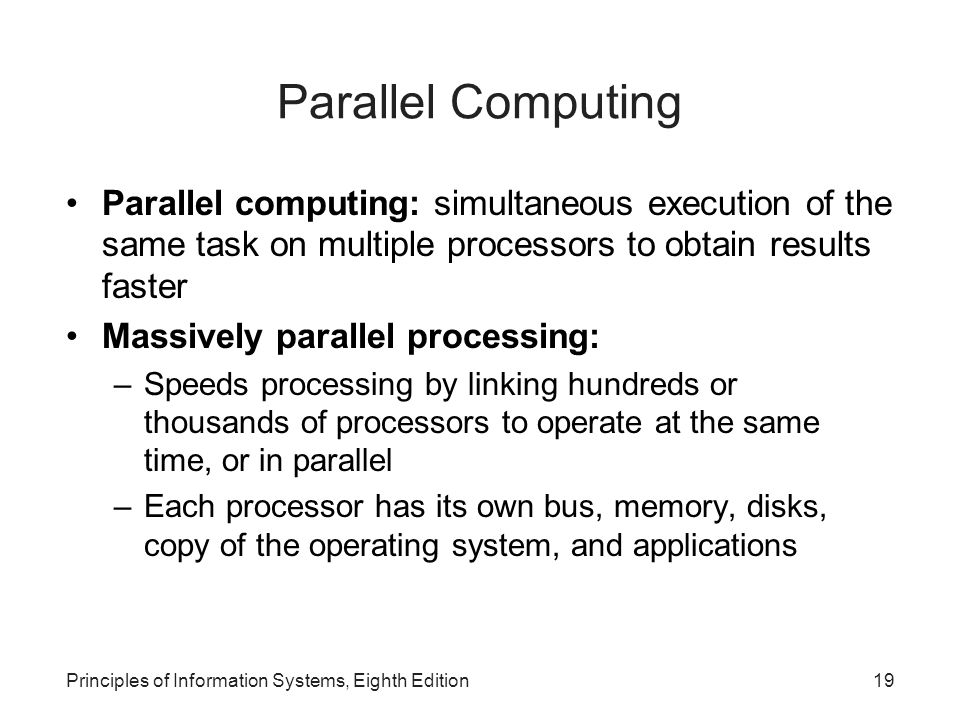 Parallel Computing Parallel computing: simultaneous execution of the same task on multiple processors to obtain results faster.